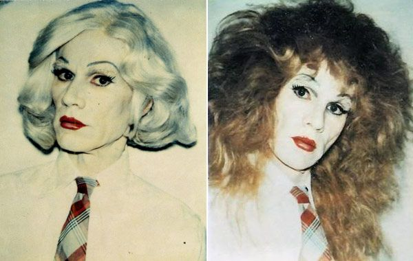 Los famosos autorretratos travestidos de Andy Warhol, 1981.