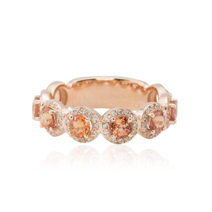 14k Rose Gold Rare Peach Sapphire Wedding Band with Pave Diamond Halos