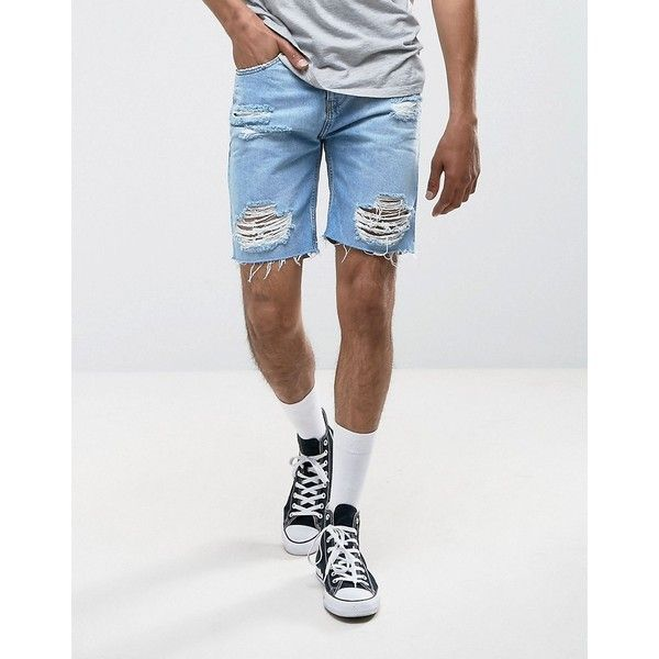 Pull&Bear Distressed Denim Shorts In Light Wash ($42) ❤ liked on Polyvore featuring men's fashion, men's clothing, men's shorts, blue, mens blue shorts, mens ripped jean shorts and mens distressed denim shorts