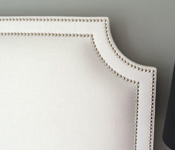 Upholstered Headboard Belgrave Shaped White Slub by ShorelineHome, $295.00