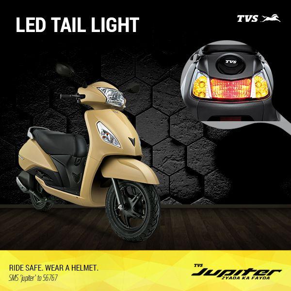 The LED lights on the TVS Jupiter shine brighter for longer.