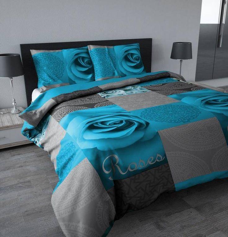 Sleeptime Dekbedovertrek Garden rose turquoise