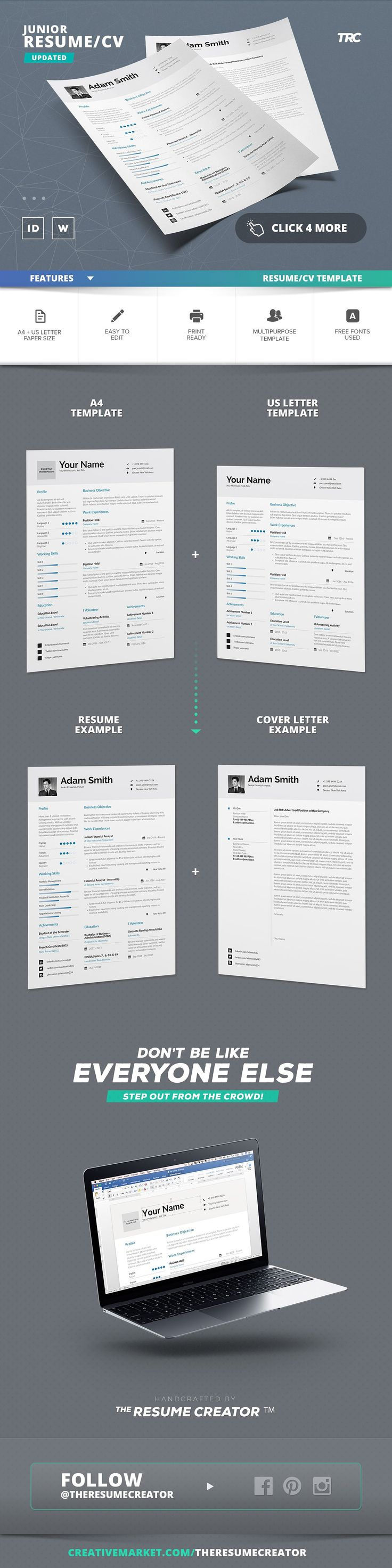 31 best CV images on Pinterest | Resume templates, Curriculum and Cv ...