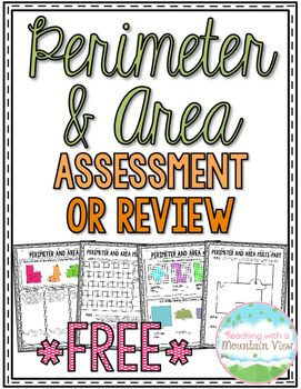 Enjoy this *Free* four-page perimeter and area assessment or printable. There are four pages included, covering multiple levels of perimeter and area problems, including finding basic perimeter and area, finding missing side lengths, story problems, and multi-part problems. Answer key included. Enjoy!