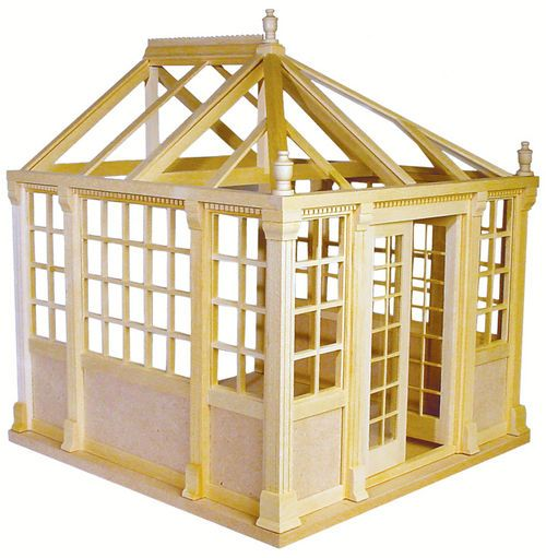 Dollhouse Miniature Conservatory Kit Roombox Greenhouse