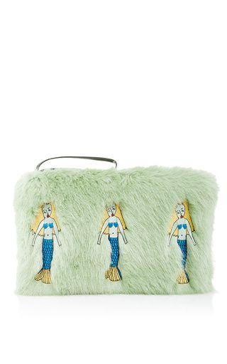 Mermarie Clutch Faux Fur by Shrimps for Preorder on Moda Operandi