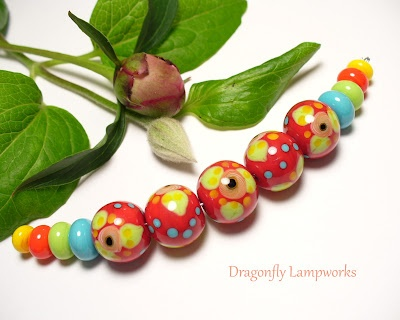 Red Twill - lampwork glass beads: Glass Beads Cute, Lampwork Beads, Color, Bead Ideas