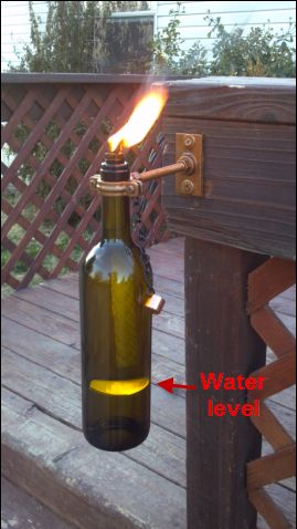 How To Make Wiki/Tiki Torch Out of Recycled Glass Wine,Beer,Soda Bottles With Clever Wick Holder