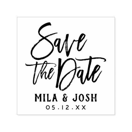 Save the Date   Brush Lettered Script Self-inking Stamp - script gifts template templates diy customize personalize special