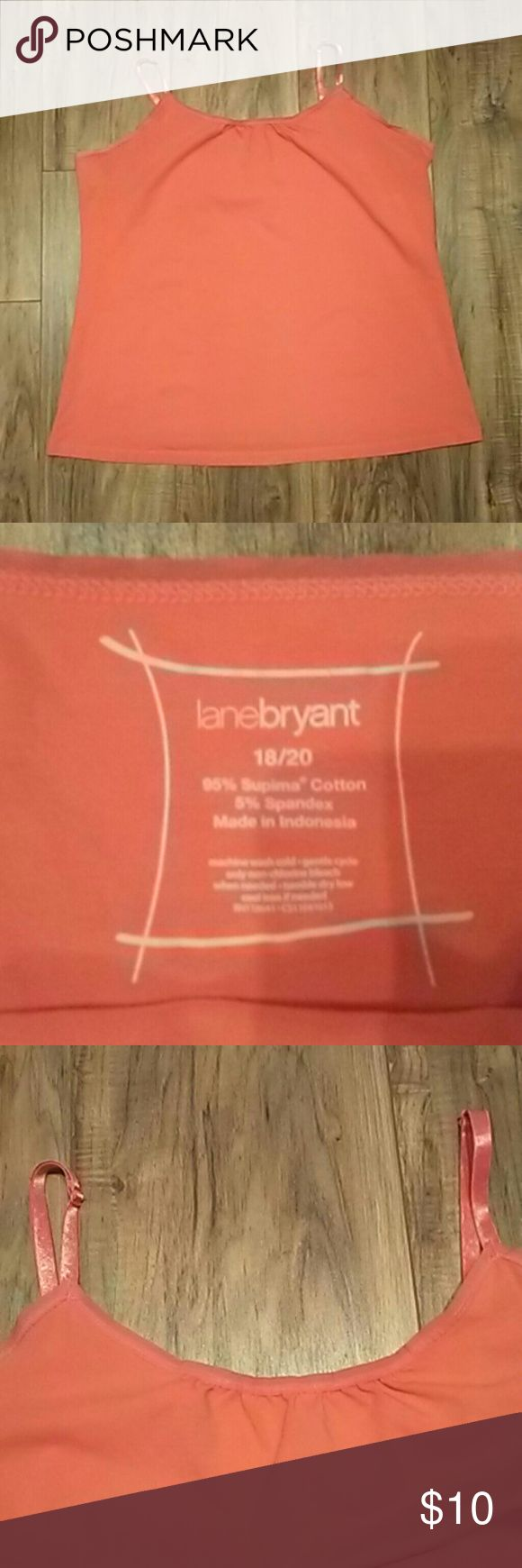 Lane Bryant 18/20 Orange Cami Lane Bryant 18/20 Orange Cami with adjustable straps.  ??Please take a look at my other items all Lane Bryant cloths below $15.?? Lane Bryant Tops Camisoles