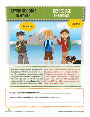 Third Grade Spanish Foreign Language Worksheets: Saying Goodbye in Spanish