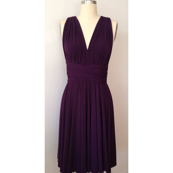 Dark Purple Grape Eggplant Infinity Dress Convertible Formal Multiway... ($39) ❤ liked on Polyvore featuring dresses, wrap dress, bridesmaid dresses, purple formal dresses, cocktail bridesmaid dresses and formal dresses