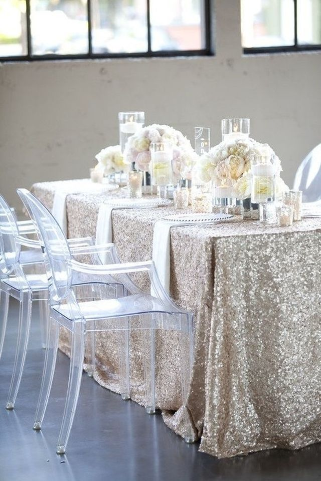 Wonderful Champagne Sequin Tablecloth | Free Shipping