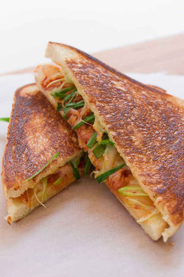 Kimchi Grilled Cheese recipe from PBS Food. (serve with a spicy simple soup or slaw)