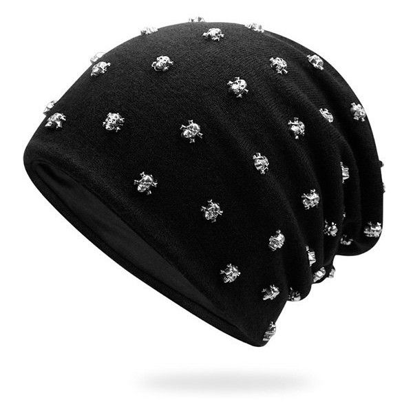 Tiny Skull Rivet Beanie Hat ($9.59) ❤ liked on Polyvore featuring men's fashion, men's accessories, men's hats and mens beanie hats