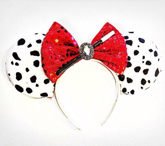 Oreilles de Cruella, Disney Cruella De Vil inspiré souris oreilles, Disney 101 Dalmations oreilles, méchants de Disney