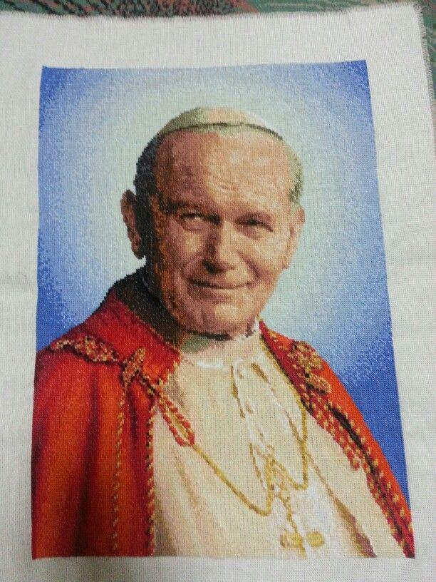 Cross stitch haft krzyżykowy Papież Jan Paweł II