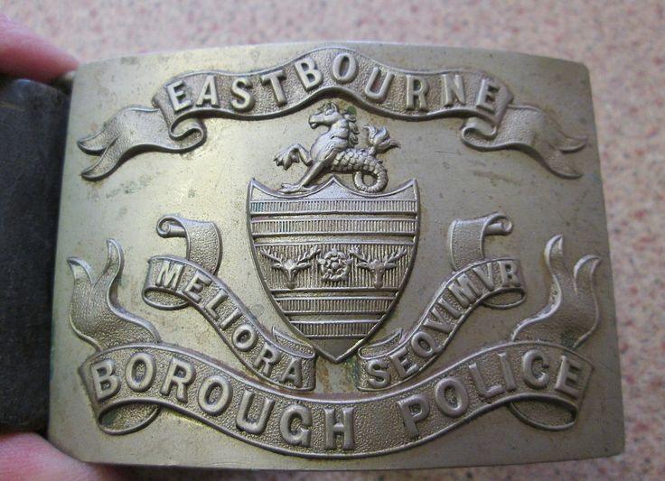 RARE EASTBOURNE BOROUGH POLICE BELT & BUCKLE. SUPERB WHITE METAL BUCKLE. | eBay