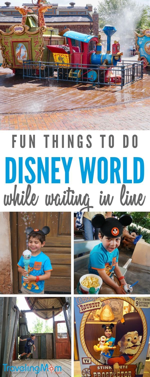There are several fun things to do while waiting in line at Disney with younger children, like taking silly selfies. Photos by Multidimensional TravelingMom, Kristi Mehes.