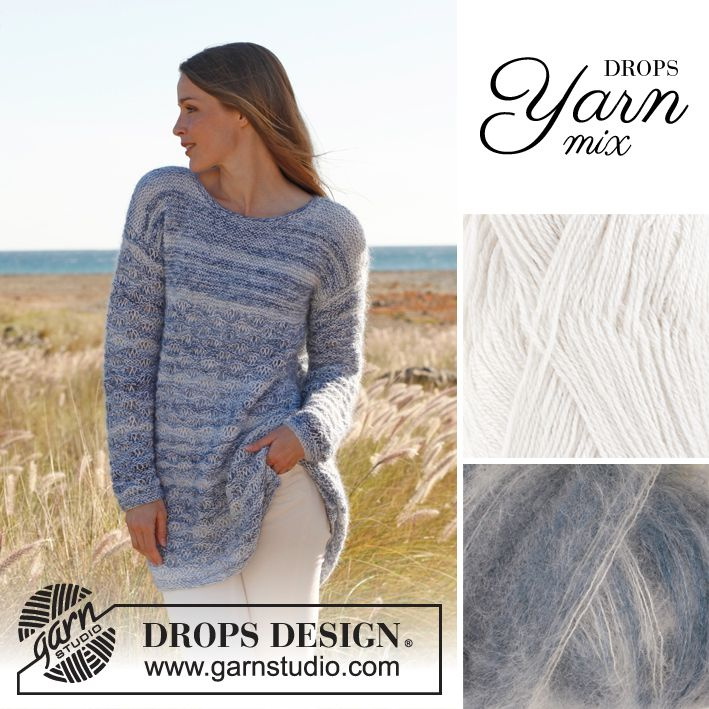 Combine different types of DROPS yarns to make a special structure or #colour combination! #knit #yarn