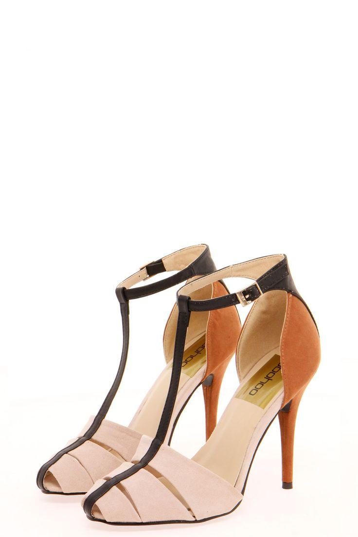 T Bar Colour Block Heels