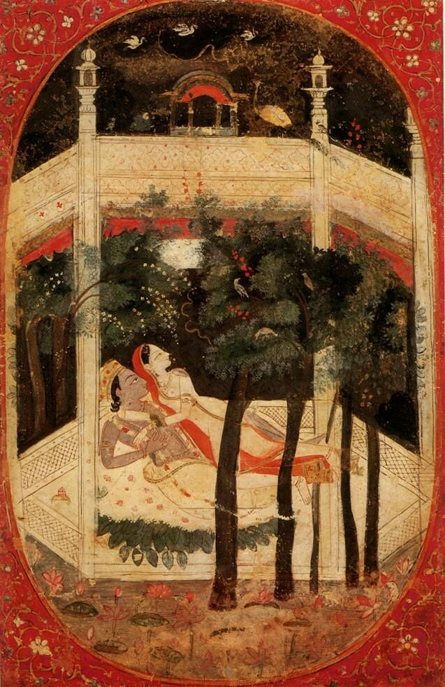 Radha and Krsna suprised by a Storm in a walled garden at night. The storm without reflects the storm within. Kangra, India 1800-25.