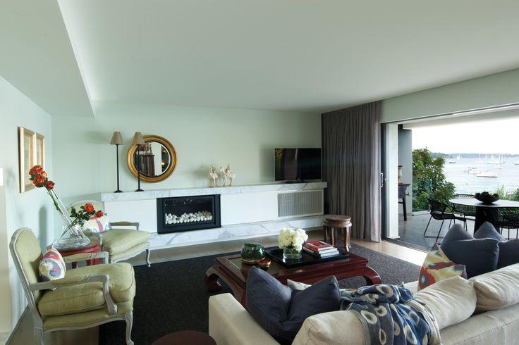 Living Room with views to Elizabeth Bay. Brooke Aitken Design.