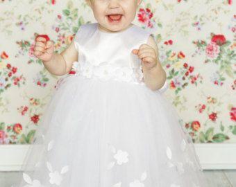 Doop jurk bloemenmeisje jurk meisje tutu jurk verjaardag jurk