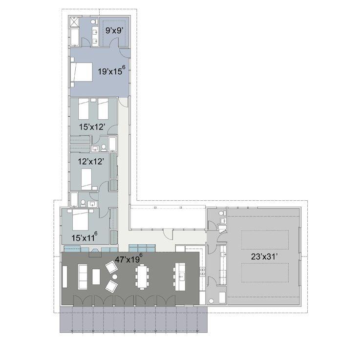 4 bedroom 3 5 bath l shape flexahouse pinterest for L shaped 4 bedroom house plans