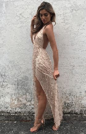 HARDING SEQUIN MAXI - ROSE GOLD