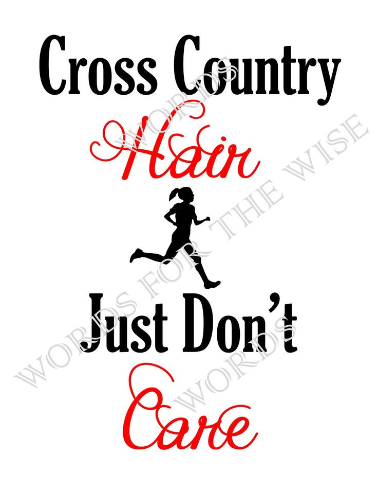 Cross Country Hair, Just Don't Care - Headband Hair, Ponytail Hair, digital design DIY t-shirt transfer iron on, print instant download by PamsWordsForTheWise on Etsy