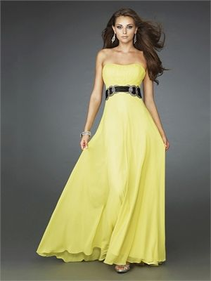 Strapless Rouched Bodice Satin Black Blet Chiffon Prom Dress PD10736