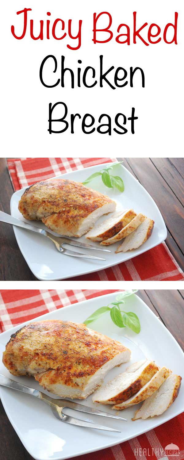 The secret to juicy baked chicken breast? Bake for a short time at a high temperature. Baking for 30 minutes at 350 degrees will yield dry meat. But baking for just 20 minutes at 450 degrees will result in delightfully juicy baked chicken breast, every time.
