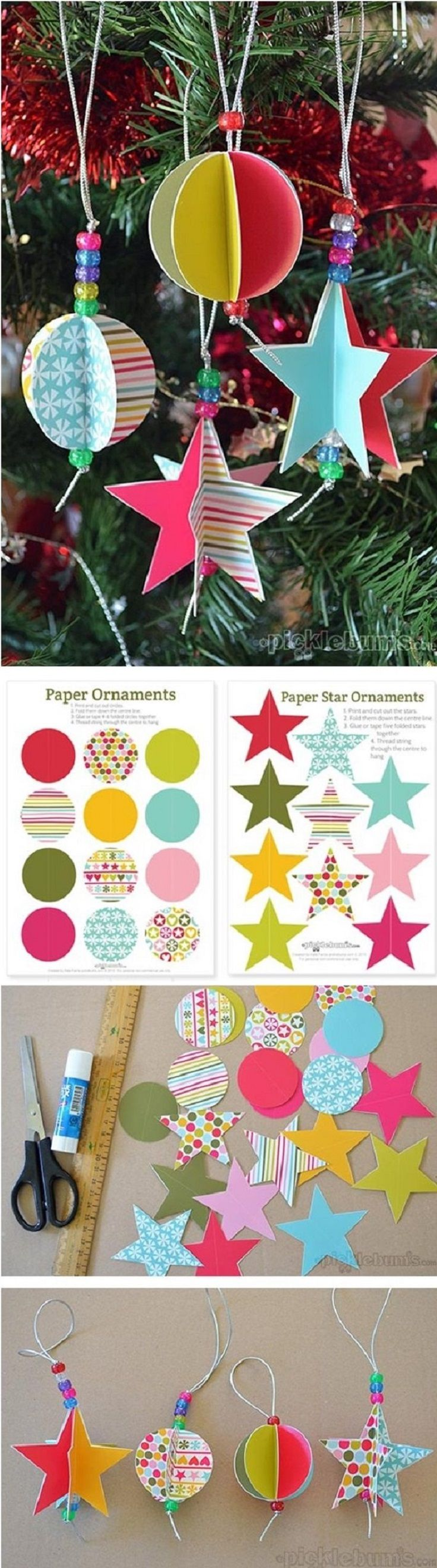 Amp occasions gt christmas alert occasions gt christmas decorations - Star And Circle Paper Ornaments For Christmas 16 Winter Wonderland Diy Paper Decorations