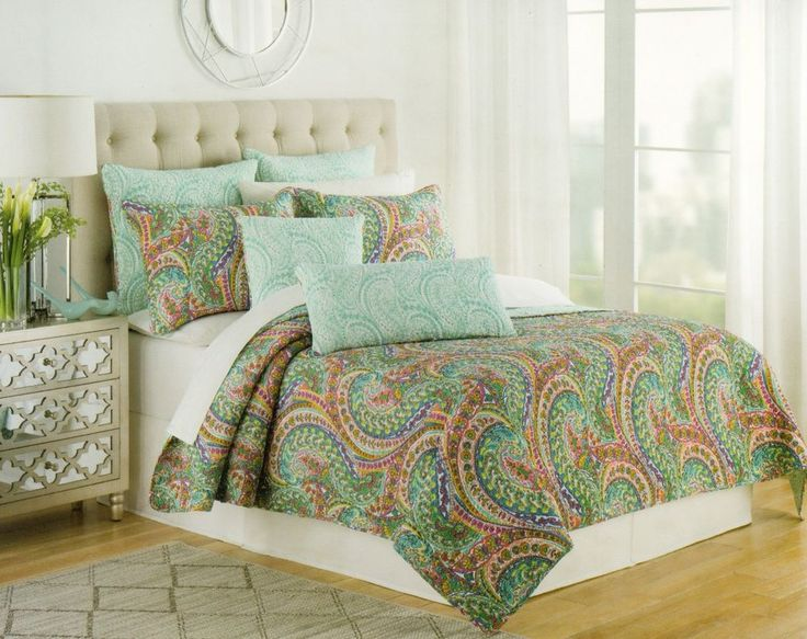 Nicole Miller 3pc Full Queen Quilt Set Reversible Paisley Turquoise Red Teal #NicoleMiller