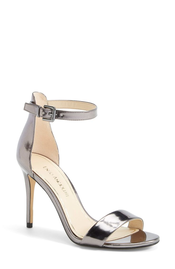 These shiny pewter chrome ankle strap sandals are a red-carpet favorite.