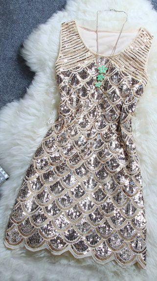 Stylish Beaded Sequined Dress