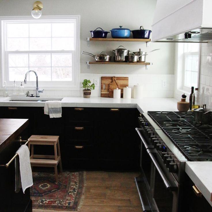 Ikea Kitchen With White Concrete Countertops