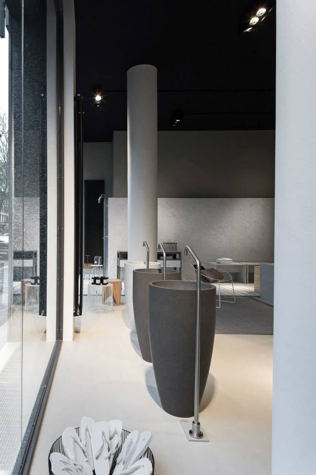 NEUTRA Flagship Store in milan - water_wellness_stone. #bathroom #spa #design #washbasins #showcase