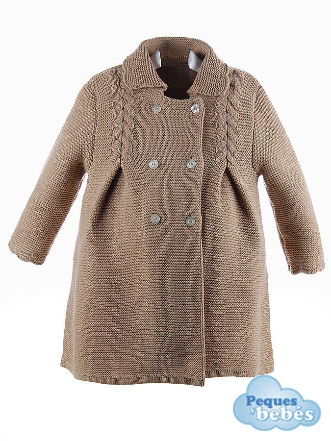 Abrigo para ni a de lana cruzado tejido en punto bobo con - Como hacer punto de lana para principiantes ...