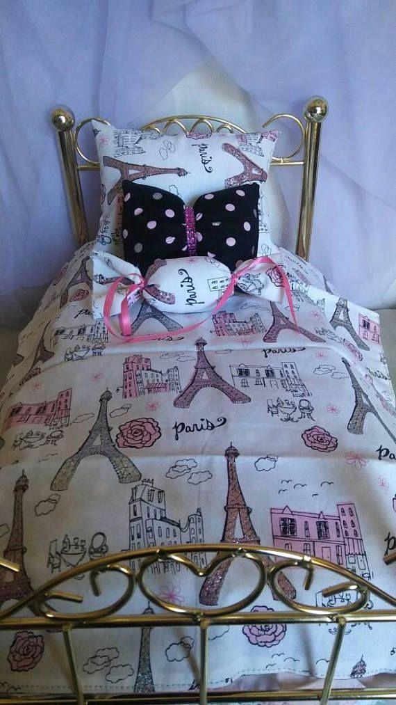 Handmade bedding set fits 18 inches doll.