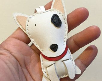 Small size - Kokomo the bull terrier cowhide leather charm ( White )