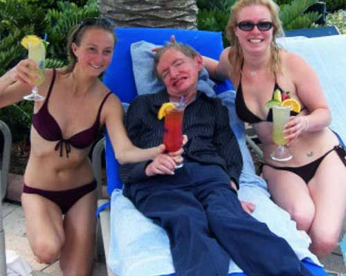 Stephen Hawking with some bitches. #2012