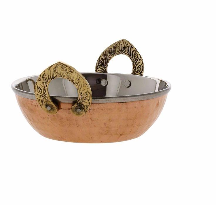 Stainless Steel Hammered Copper Serveware Accessories - Karahi Pan Bowls #VisvabhavanahMart