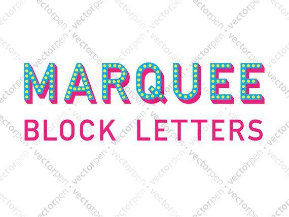 Marquee Block Letters Font Clip Art for Scrapbooking Cricut