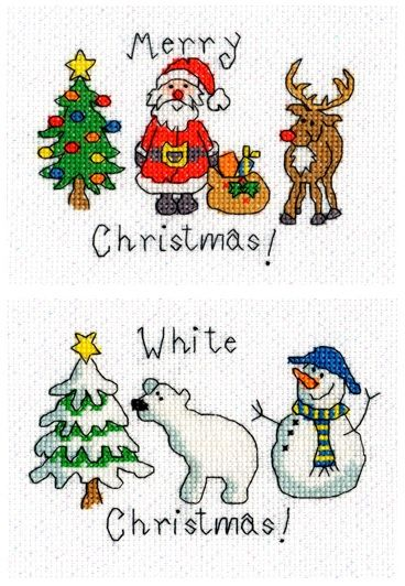 Set of 2 Xmas Cards - June Armstrong cross stitch kit for Bothy Threads