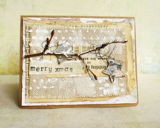 12 Days of Christmas: Day 7-Burlap and Bark. Card by Kasia Krzyminska #12daysofchristmascards #christmascards