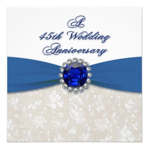 Damask 45th Wedding Anniversary Invitation  Zazzlecom