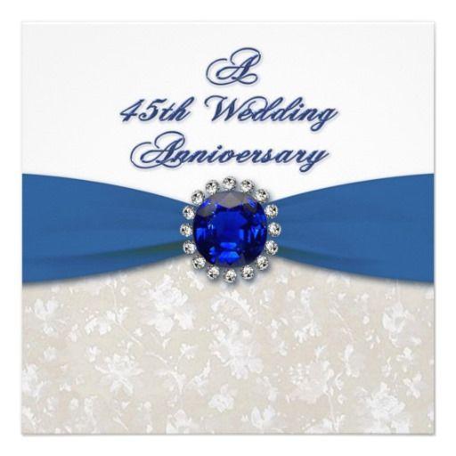 Pin On Wedding Anniversary 2020: Damask 45th Wedding Anniversary Invitation
