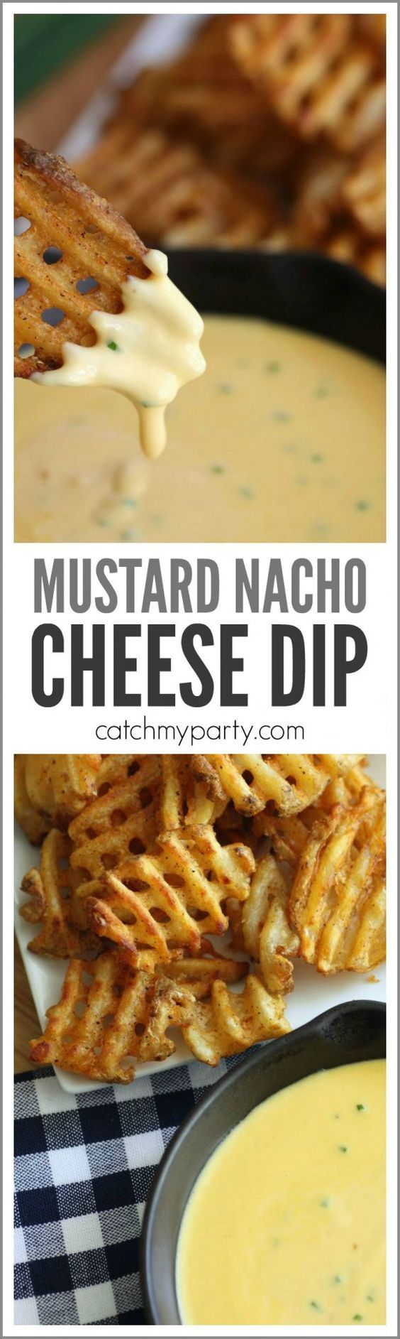 Try our mustard nacho cheese dip recipe. It's an easy thing to serve at a football party and they go great with @alexiafoods fries! | CatchMyParty.com #FarmToFresh #ad